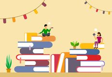 Stacks of books with bookmarks and characters in the style of flat. Vector stock illustration