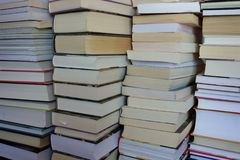 Stacks of books, close-up for background stock image