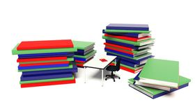 Stacks of books and desk Stock Images