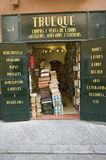 Stacks of books in front of bookstore in centro district of Sevilla, Spain Royalty Free Stock Photos