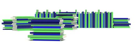 Stacks of books. Multiple stacks of books in green and blue Royalty Free Stock Images