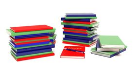 Stacks of books. Notebook, Multiple stacks of books Stock Photography