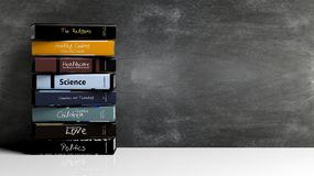 Stacks of books with various subjects Royalty Free Stock Image