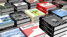 Stacks of books with various subjects Royalty Free Stock Photo