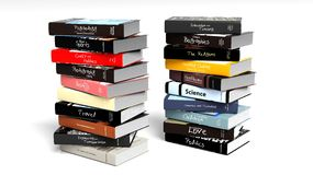 Stacks of books with various subjects Royalty Free Stock Images