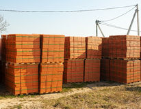 Stacks of bricks for the construction Royalty Free Stock Photo