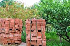Stacks of Bricks. In a garden royalty free stock photos