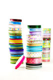 Stacks of brightly colored ribbon Royalty Free Stock Photos