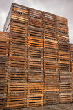 Stacks of Brown Pallets Stock Images