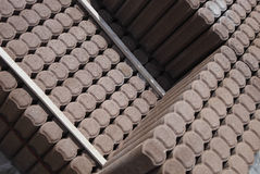Stacks of building blocks. Orderly stacks of stored concrete building blocks or stones Stock Photo