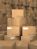 Stacks of Cardboard Boxes. Stock Photos