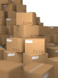 Stacks of Cardboard Boxes. Royalty Free Stock Photo