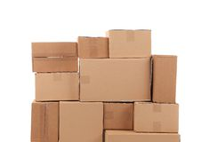 Stacks of cardboard boxes. Royalty Free Stock Photos
