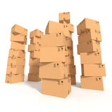 Stacks of cardboard boxes Stock Images