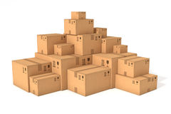 Stacks of cardboard boxes Royalty Free Stock Images