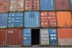 Stacks of cargo containers Royalty Free Stock Photos