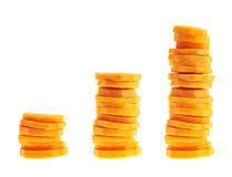 Stacks of carrot slices isolated Stock Image