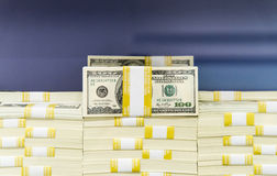Stacks of Cash - 100 dollar bills Royalty Free Stock Images