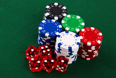 Stacks of casino chips Stock Photography