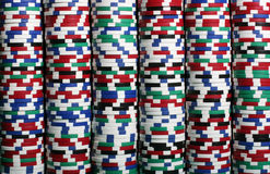 Stacks of casino chips stock image