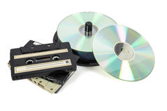 Stacks of CDs on spool and audio tapes Stock Photography