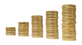 Stacks chart coins isolated Stock Photo