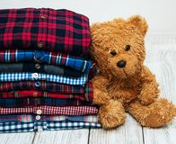 Stacks of checkered shirts Royalty Free Stock Images