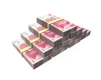 Stacks of Chinese Yuan Banknotes Stock Images