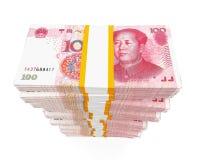 Stacks of Chinese Yuan Banknotes Stock Photos