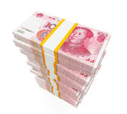 Stacks of Chinese Yuan Banknotes Royalty Free Stock Images