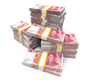 Stacks of Chinese Yuan Banknotes Royalty Free Stock Image