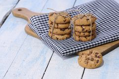 Stacks of chocolate chip cookies Stock Images