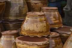 The stacks of clay flower pot Stock Photos