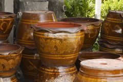 The stacks of clay flower pot Stock Images