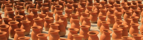 Stacks of clay flowerpots in Kathmandu, Nepal royalty free stock images