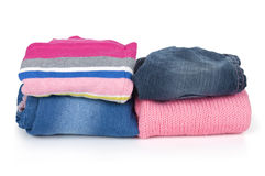 Stacks of clothing Stock Images