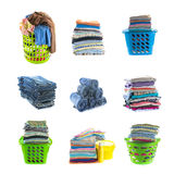 Stacks of clothing collection Stock Photo