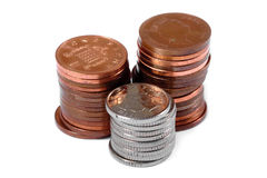 Stacks of coins. Some stacks of coins, isolated Royalty Free Stock Photography