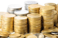 Stacks of coins . Royalty Free Stock Images