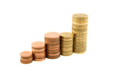 Stacks of coins. Building an upward graph isolated on white Royalty Free Stock Images