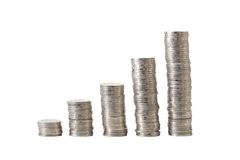 Stacks of coins. Isolated on white Stock Images