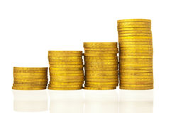 Stacks coins arranged Royalty Free Stock Photos