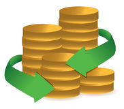 Stacks of coins with arrows illustration Royalty Free Stock Image