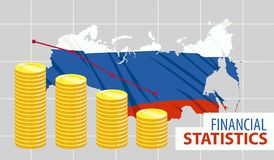 Stacks of coins bars chart with Russia on background stock illustration