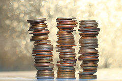 Stacks of coins concept dollars Royalty Free Stock Images