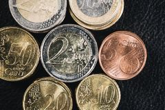 Stacks of Coins Euro - Top View Royalty Free Stock Photos