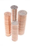 Stacks of Coins. Stacks of One Each of Pennies Nickels Dimes and Quarters Stock Image