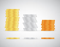Stacks of coins Gold silver and copper template. Stacks Gold silver and copper coins template icons vector illustration Stock Image