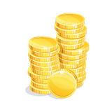 Stacks coins. Stacks of gold coins on a white background. Eps 10 Stock Images