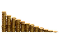 Stacks of coins. Stacks of golden coins isolated Stock Image